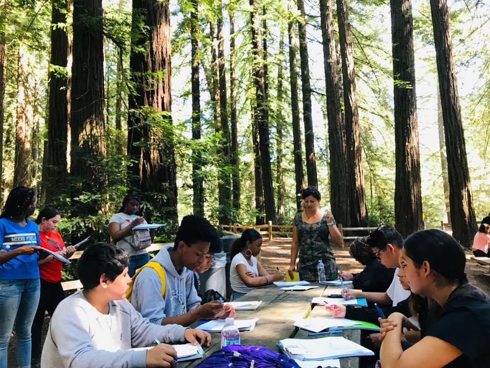 Latitude High School tenth graders in the redwoods