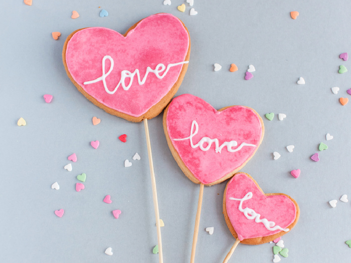 heart shaped iced cookies