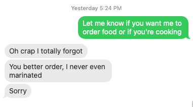 spousal text about food