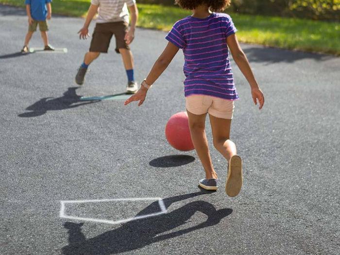 kickball game with kids