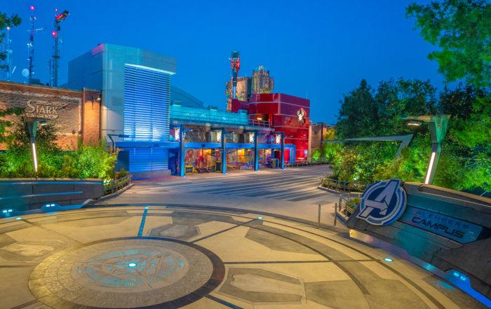 Disney California Adventure Park Avengers Campus at night