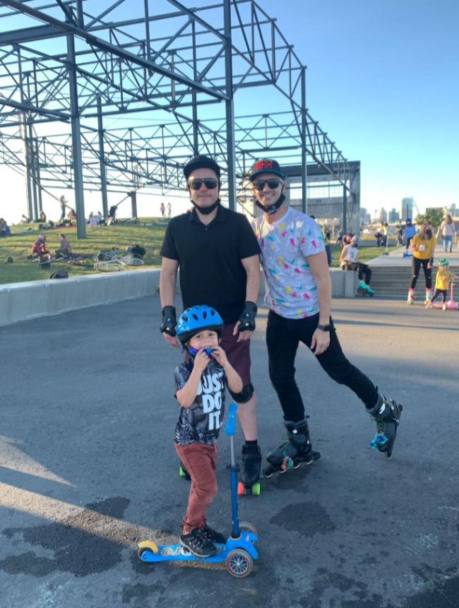 family on skates and scooter