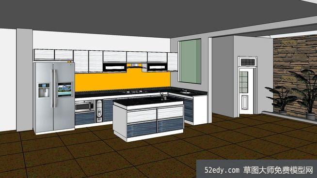 complete kitchen widespread faucet 完整室内厨房su模型 su模型下载草图大师模型 skp模型 完整室内厨房su模型完整室内厨房su模型 1