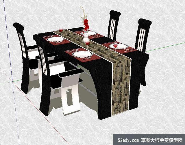 steel kitchen table unfinished islands 精致的欧式餐桌餐具su模型_su模型下载 草图大师模型_skp模型
