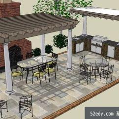 Outdoors Kitchen White Cabinets Design 户外厨房整体su模型 Su模型下载草图大师模型 Skp模型 户外厨房整体su模型户外厨房整体su模型 1