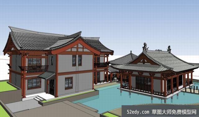 宋代古建筑SU模型設計_su模型下載 草圖大師模型_SKP模型
