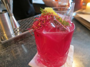 Beetroot cocktail at bespoke bar