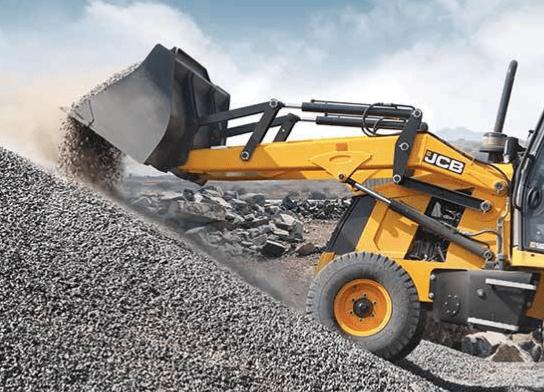 JCB Digger lifting gravel