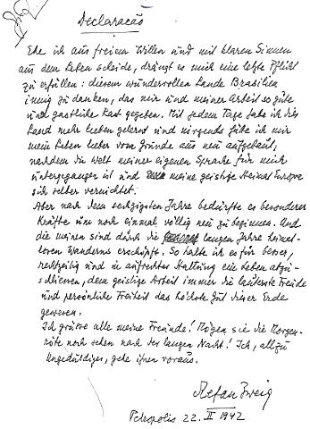 abschiedsbrief_stefan_zweigs - Eigenhandig Geschriebener Lebenslauf