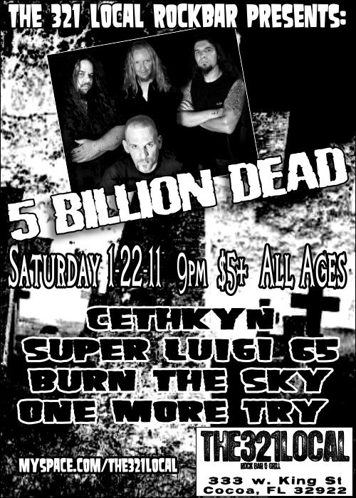 five billion dead at 321 local rock bar flier cocoa florida