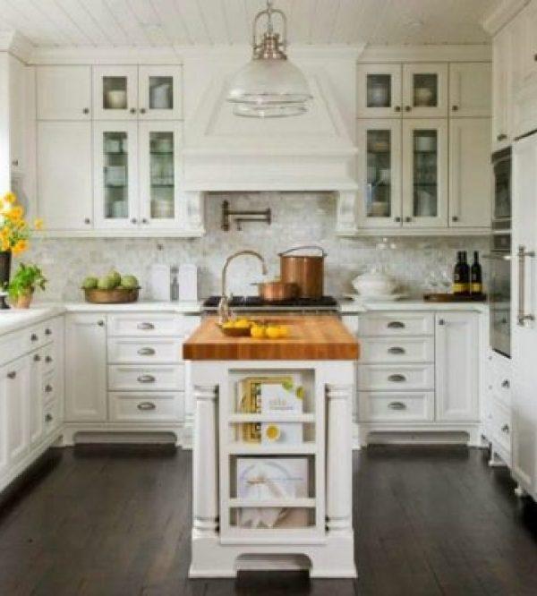 all white kitchen with stone backsplash