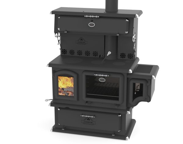 black wood fire stove with water tank and glass doors