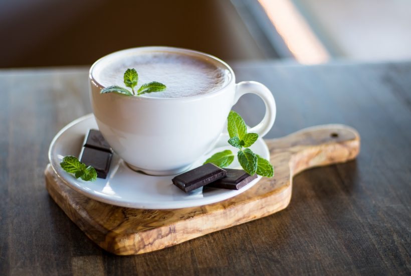 white ceramic cup of peppermint coffee