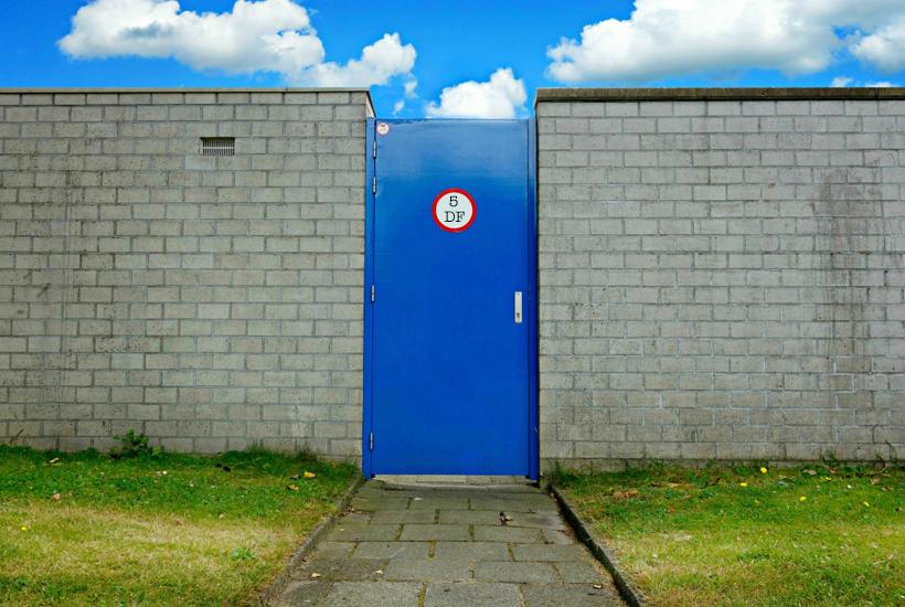 blue closed door 5 Dog Farm