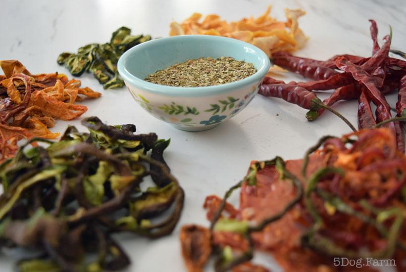 dried herbs and veggies 5DogFarm