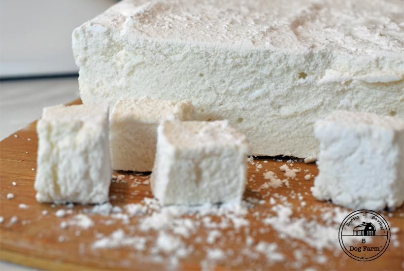 homemade marshmallows on cutting board