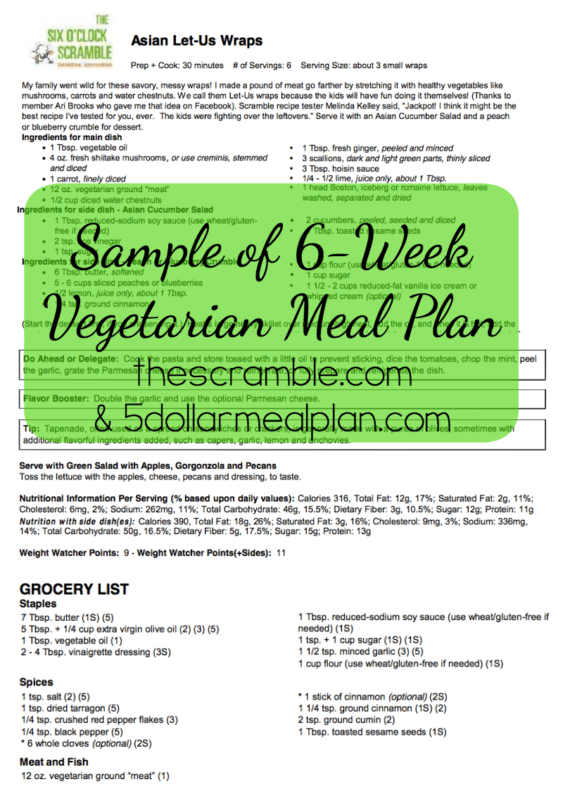 NEW 6 Week Vegetarian Meal Plan Available