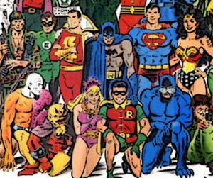 DC Jam poster detail featuring Robin, Amethyst, Wildcat, the Demon Etrigan, Metamorpho, Cain, Sgt. Rock, Green Lantern II, Captain Marvel, Batman, Superman, and Wonder Woman