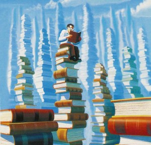 Reading order: many stacks of books and a lot of reading to do!