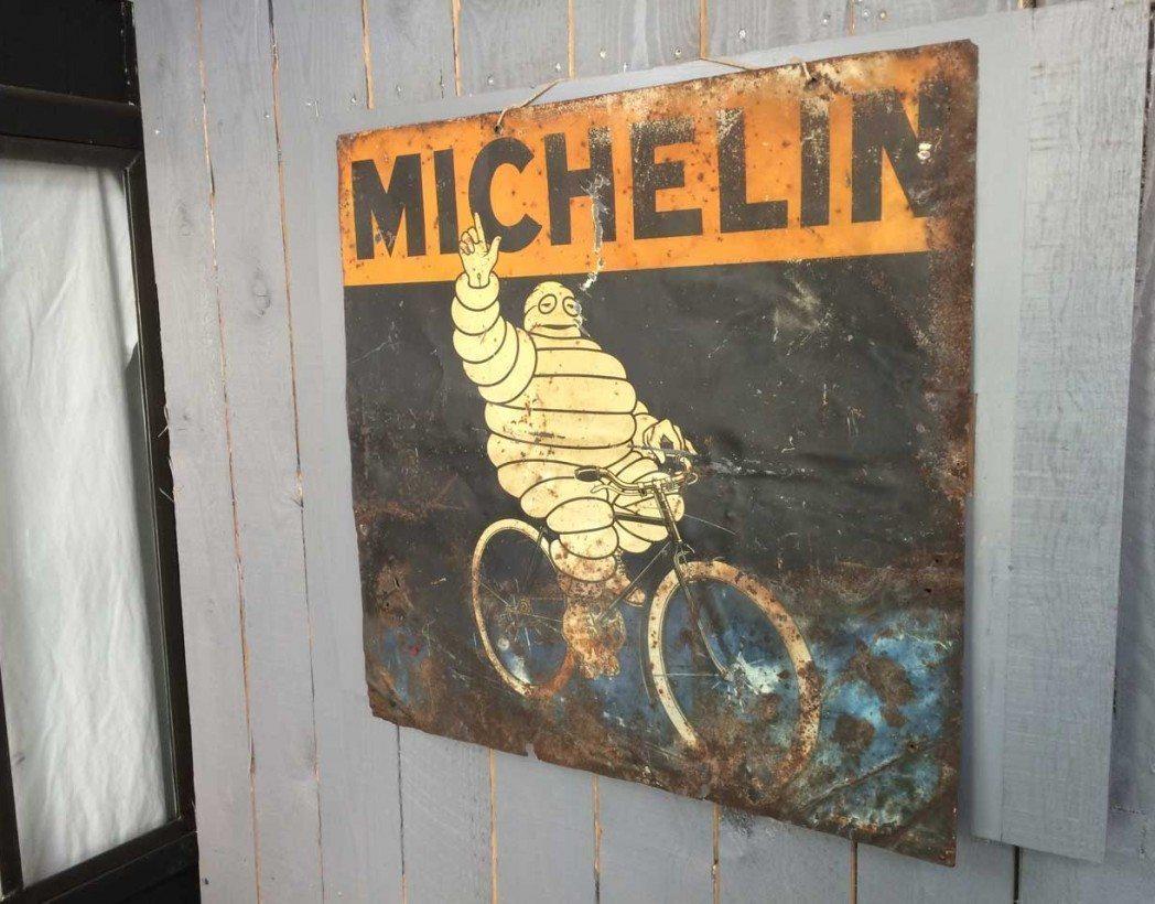 tole publicitaire michelin andreis 5francs 2