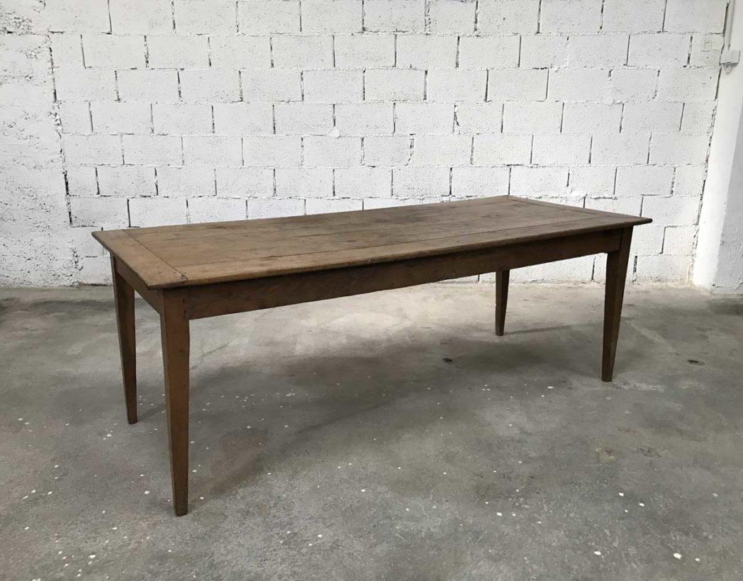 ancienne table de ferme pieds fuseaux en chene massif n 004