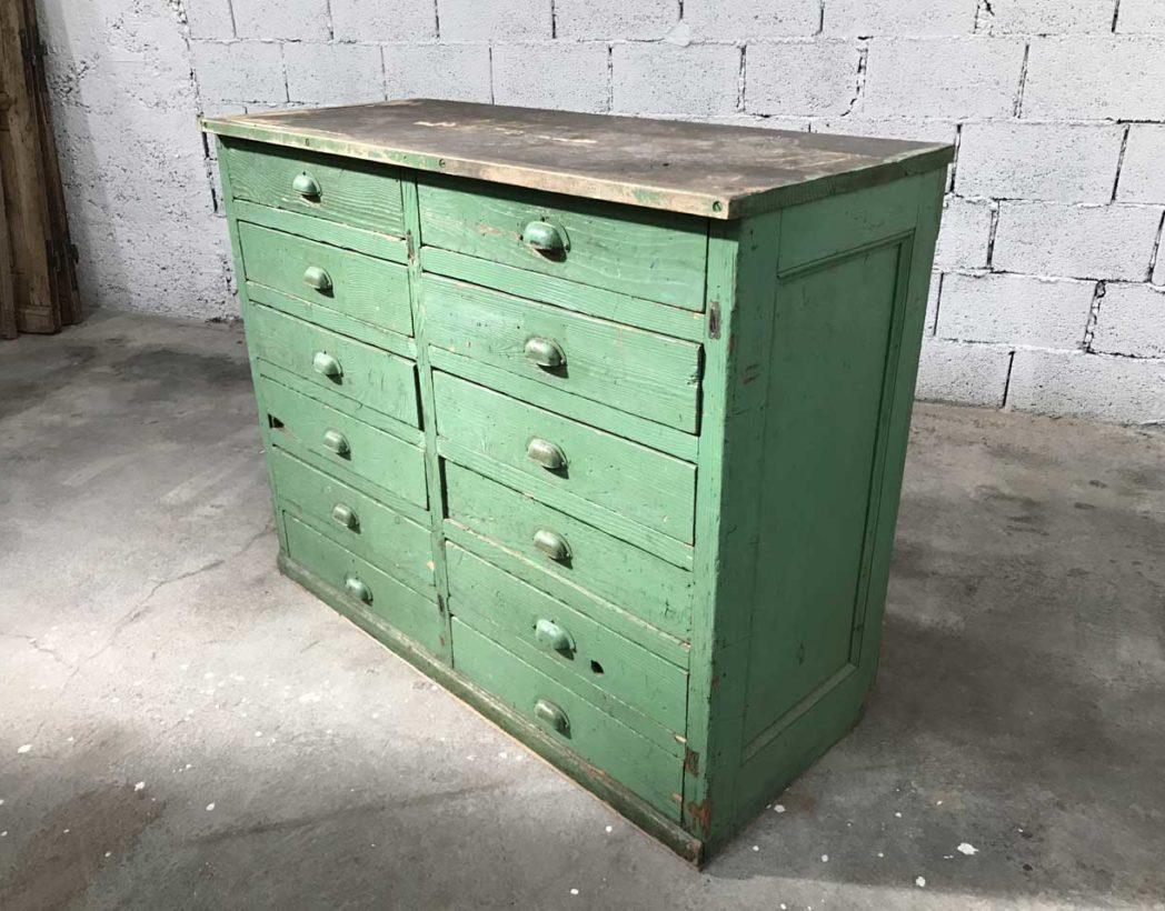 ancien petit meuble de metier 12 tiroirs patine d origine