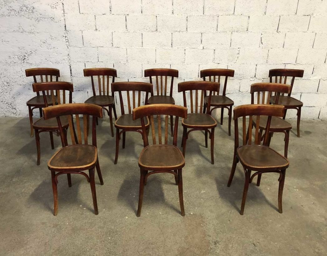 ensemble 12 anciennes chaises bistrot la comete