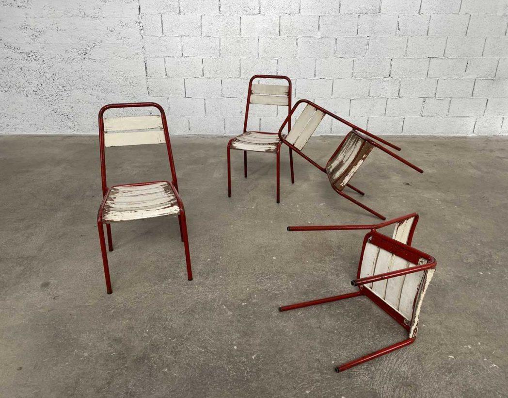ensemble 4 chaises de jardin metal et bois rouge et blanche
