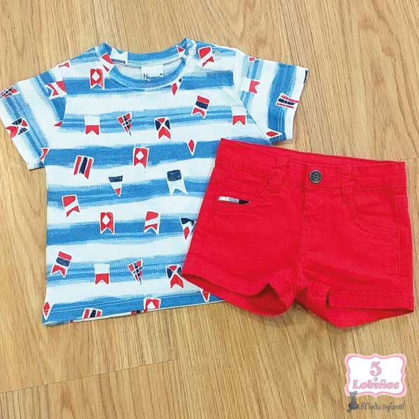 camiseta bebe niño azul y roja verano 2021 3