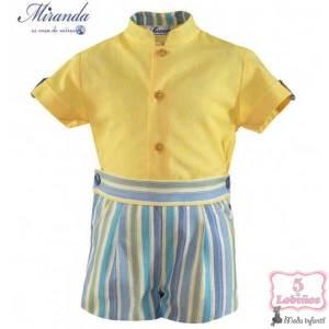 conjunto bebe niño rayas amarillo y azul miranda