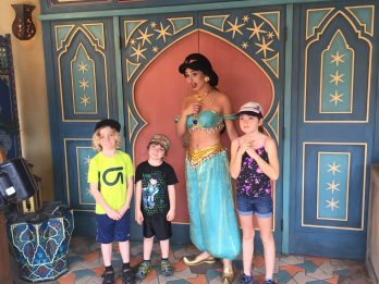Ella loved meeting the characters, the boys not so much.