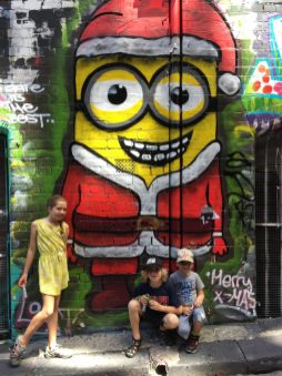 Minion Christmas street art