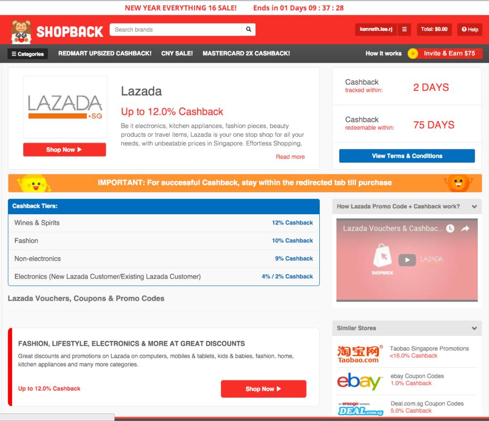 ShopBack Lazada Page