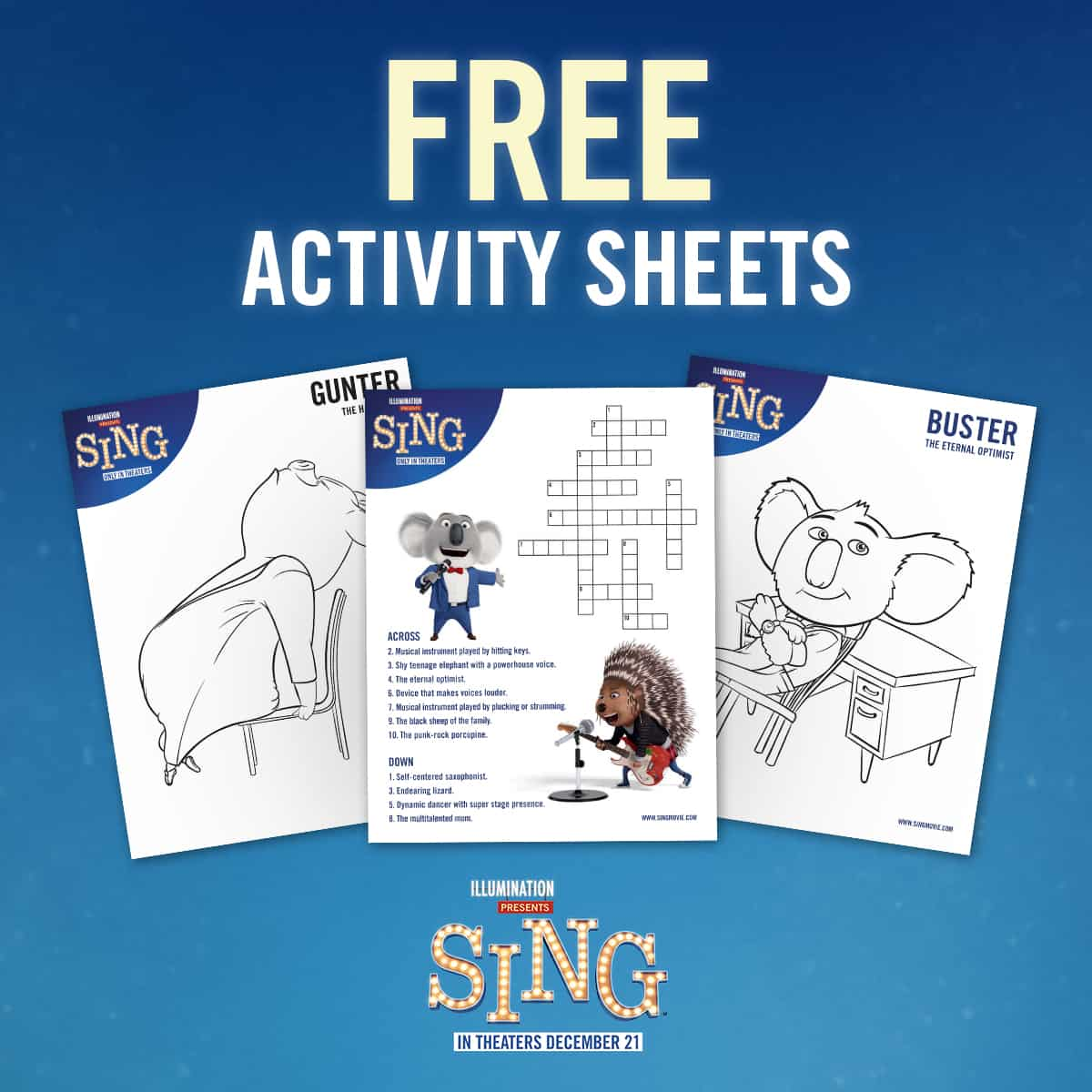 Sing Movie Printable Activity Sheets