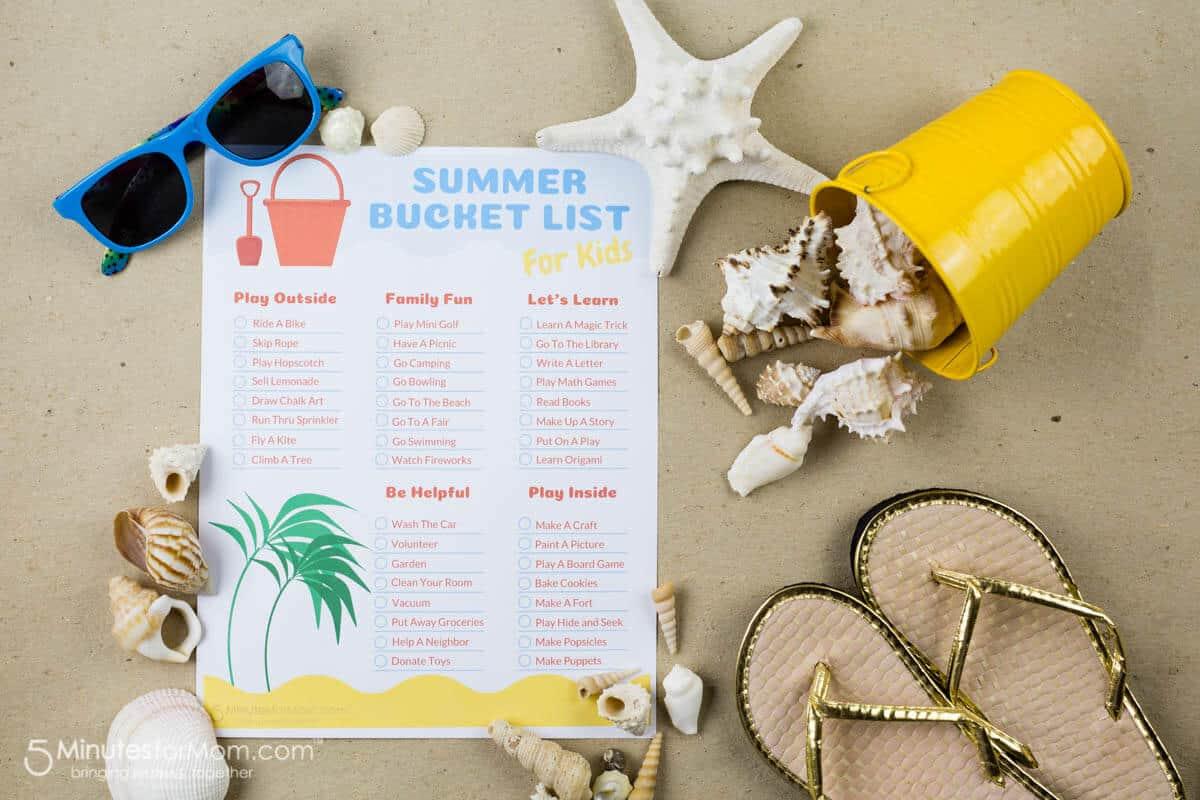 Printable Summer Bucket List For Kids