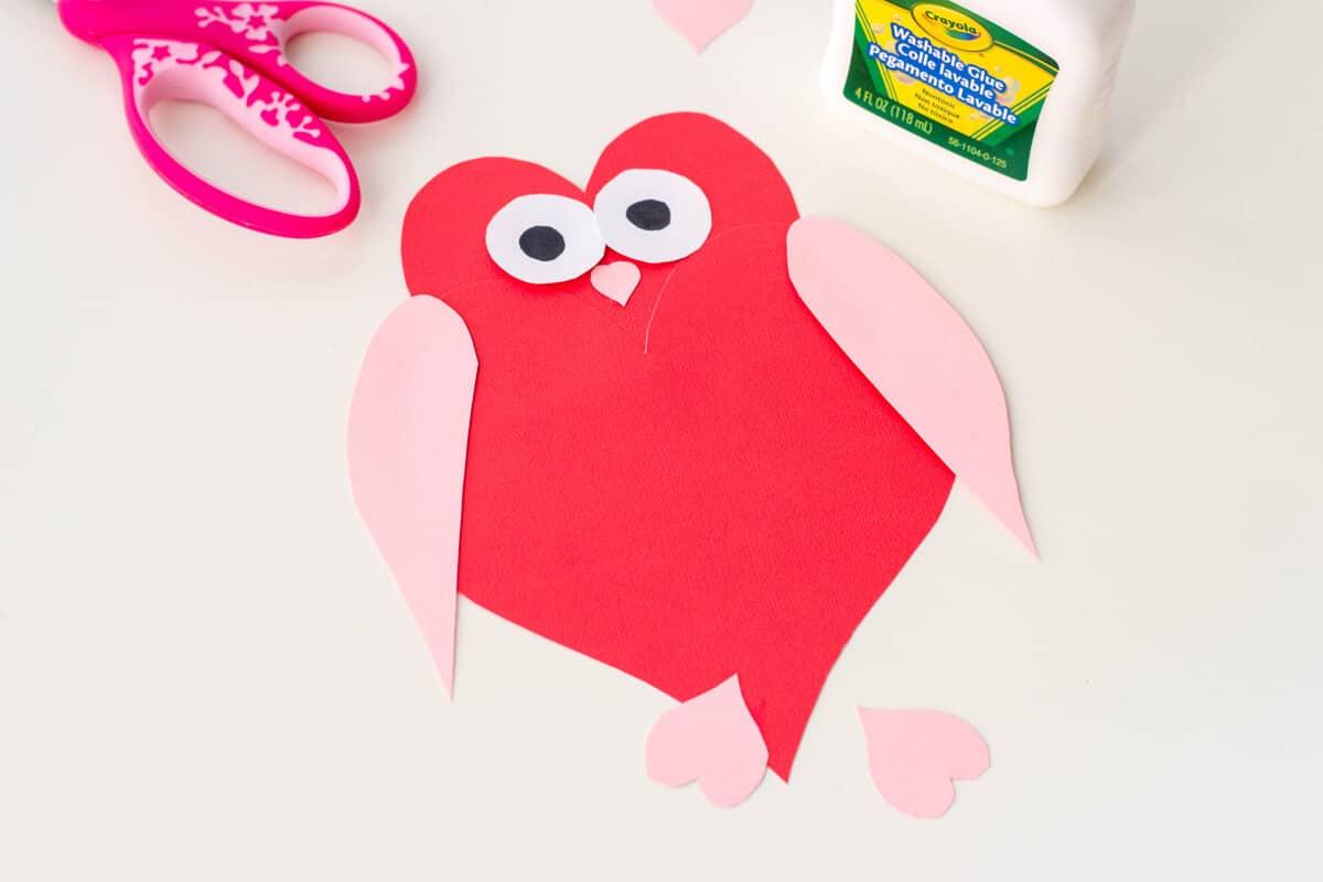 Owl Heart Shape Paper Craft