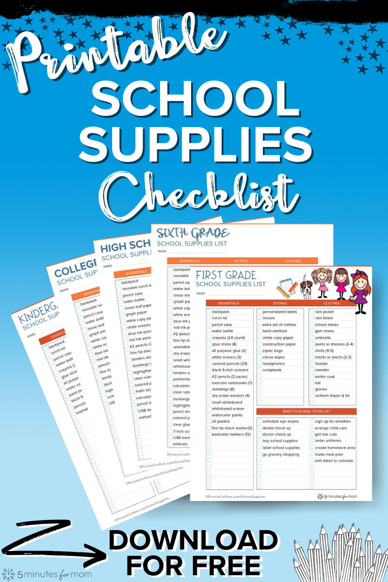medium resolution of School Supplies List and Back to School Shopping Guide - 5 Minutes for Mom