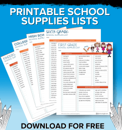 School Supplies List and Back to School Shopping Guide - 5 Minutes for Mom [ 800 x 1200 Pixel ]