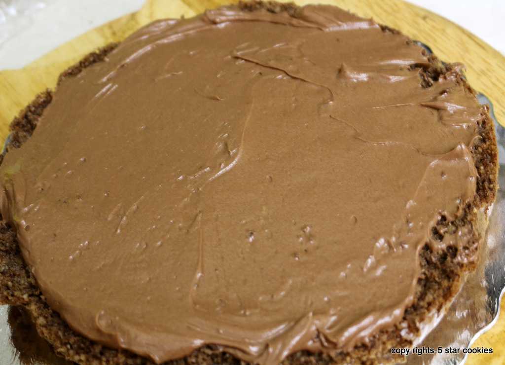Ferrero Rocher Torte from the best food blog 5starcookies -First Layer cake+Nutella Filling