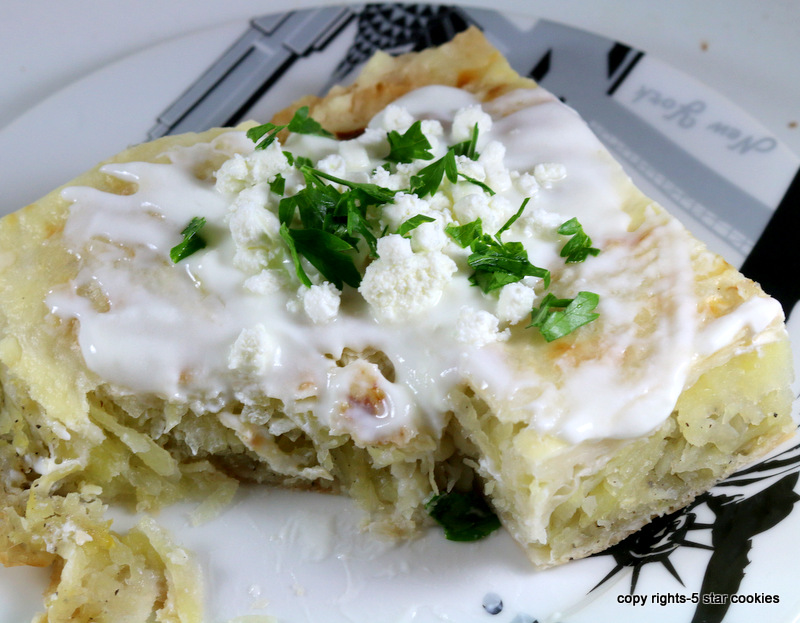 Potato Feta Onion Pie from the best food blog 5starcookies-enjoy and share