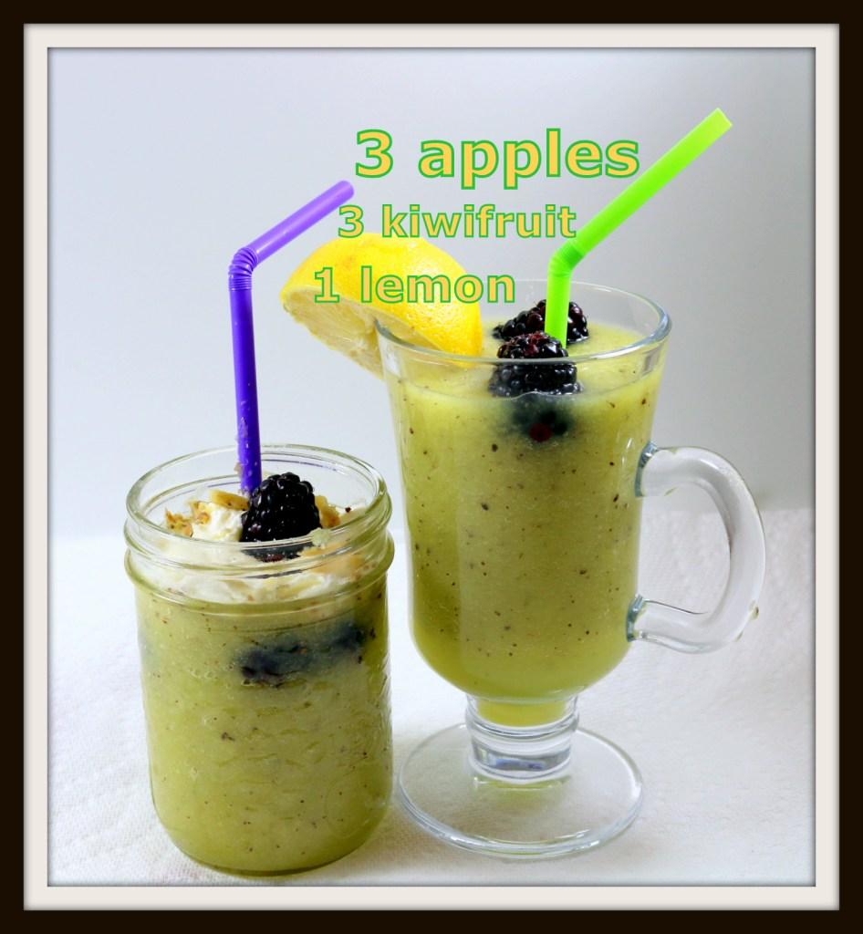 healthy green drink from the best food blog 5starcookies -apples,kiwis,lemon