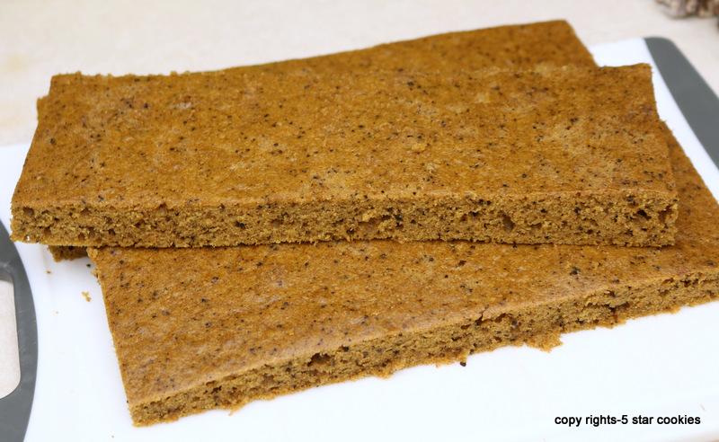 Pumpkin Espresso Cheese 5 Star Cake-cut cake into 4 equal pieces