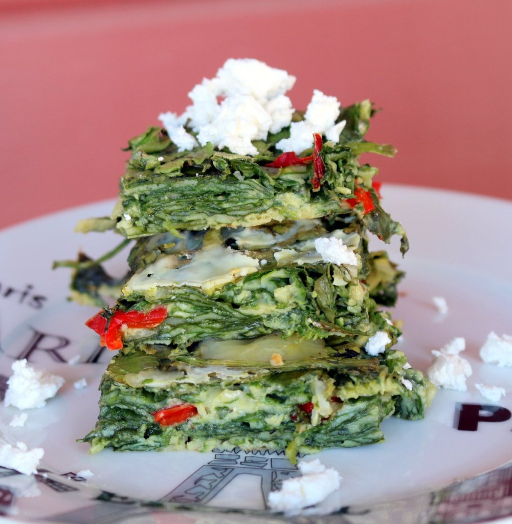 healthy baked spinach - cut into squares