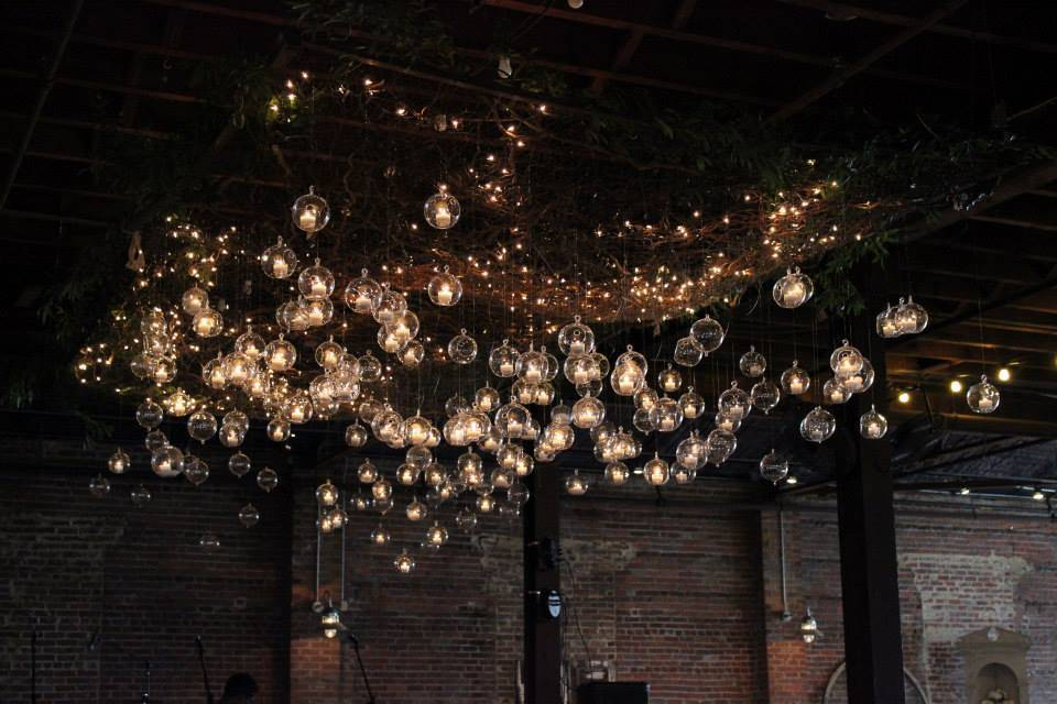 High ceilings need lots of lights! Edison lamps make a stunning visual display