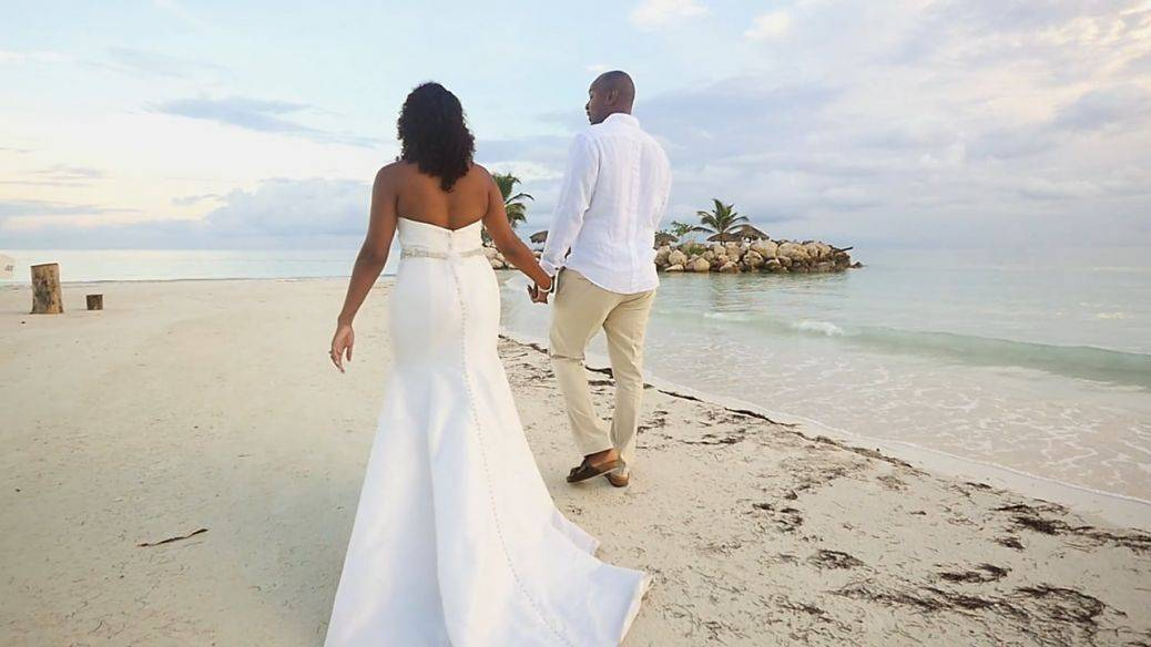 The white Jamaican sands make a beautiful setting for a wedding. Photo: North South Films