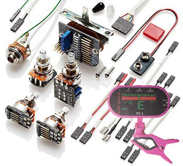 emg 3 pickup conversion wiring kit ppp push / pull - short shaft w