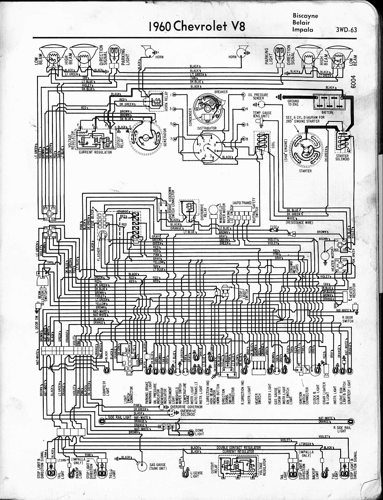 hight resolution of 1960 chevrolet wiring diagrams v8 and l6 engines 1963 impala wiring diagram wiring diagram for 1960 chevy impala