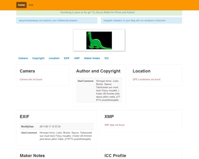 Kuva 2 - Metapicz.com palvelu näyttää kuvan metatiedot.
