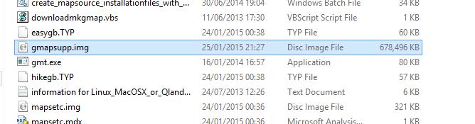 Kuva 9 - Nyt hakemistoon on ilmestynyt gmapsupp.img niminen tiedosto, joka siirretään gepsiin.