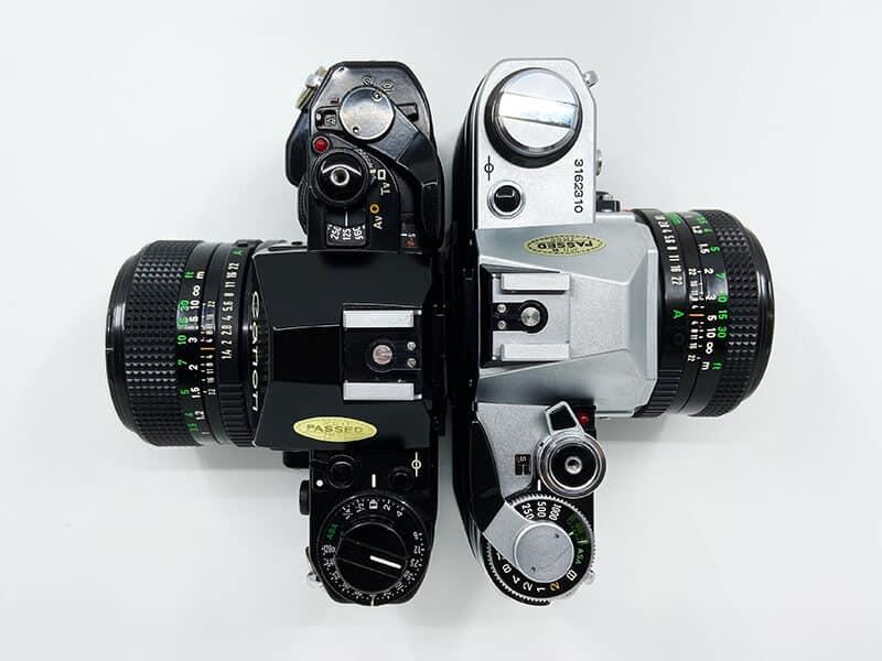 Größenvergleich Canon A-1 und Canon AE-1